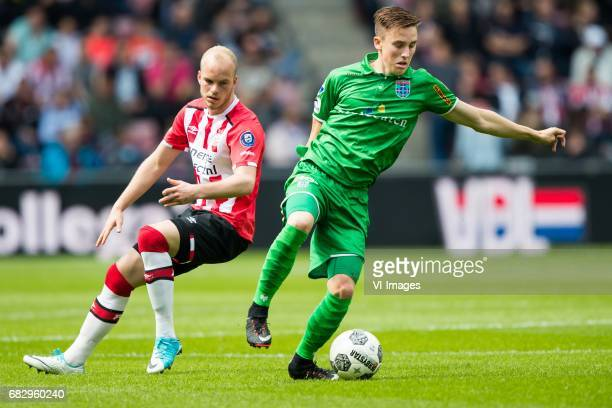 Jorrit Hendrix of PSV Ryan Thomas of PEC Zwolleduring the Dutch Eredivisie match between PSV Eindhoven and PEC Zwolle at the Phillips stadium on May...