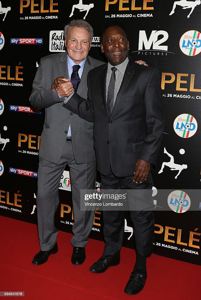 José Altafini and Edson Arantes do Nascimento aka Pele attend the 'Pele' Red Carpet In Milan on May 26, 2016 in Milan, Italy.