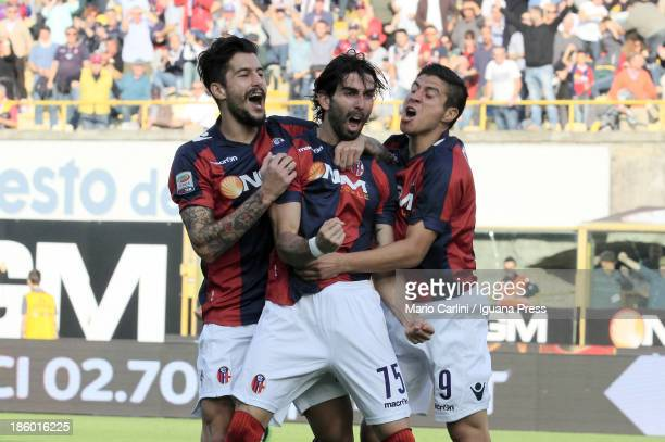 Josè Angel Crespo of Bologna FC celebrates after scoring the opening goal during the Serie A match between Bologna FC and AS Livorno Calcio at Stadio...