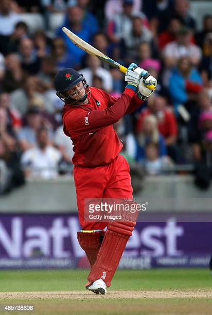 Jos Butler of Lancashire hits a 6 during the NatWest T20 Blast Final between Lancashire Lightning and Northamptonshire Steelbacks at Edgbaston on...