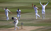 Jos Buttler of celebrates taking a catch to dismiss Rohit Sharma of India off the bowling of James Anderson during day five of the 3rd Investec Test...