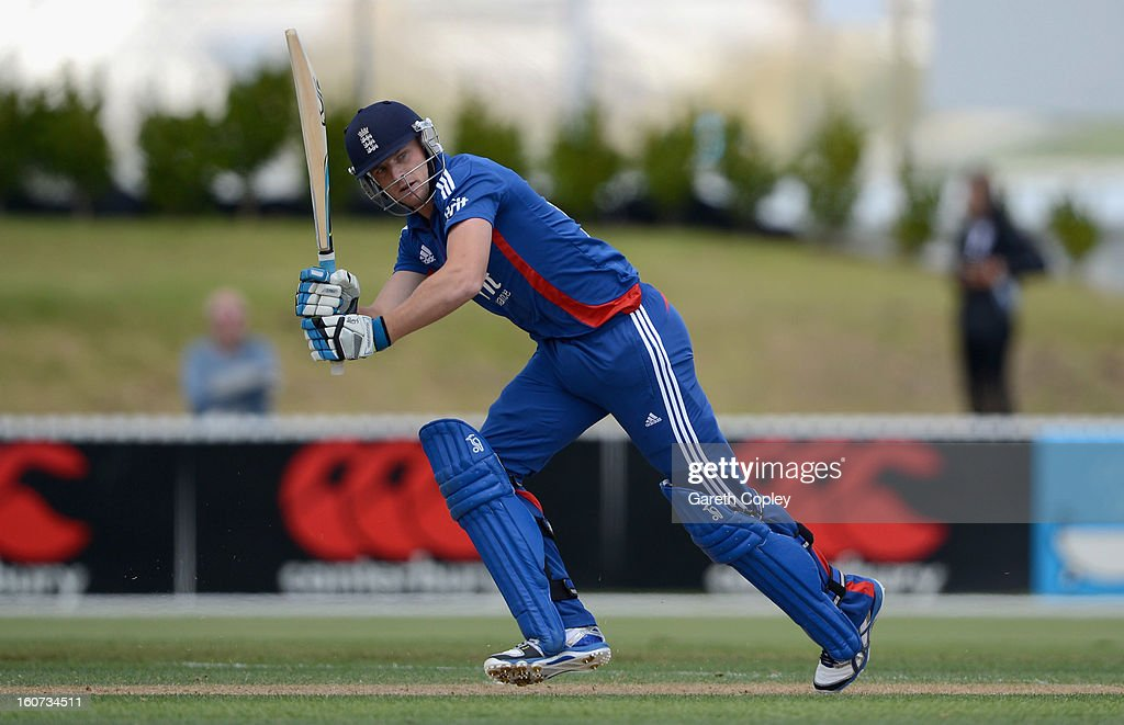 Jos Buttler of England bats during a T20 Practice Match between New Zealand XI and England at Cobham Oval on February 5, 2013 in Whangarei, New Zealand.