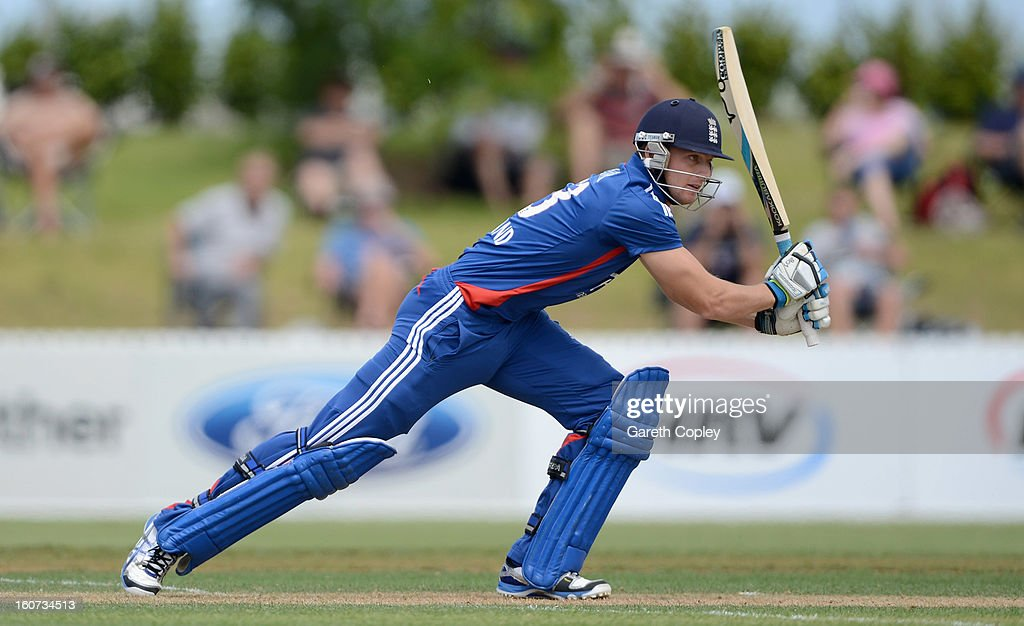 <a gi-track='captionPersonalityLinkClicked' href=/galleries/search?phrase=Jos+Buttler&family=editorial&specificpeople=5788479 ng-click='$event.stopPropagation()'>Jos Buttler</a> of England bats during a T20 Practice Match between New Zealand XI and England at Cobham Oval on February 5, 2013 in Whangarei, New Zealand.