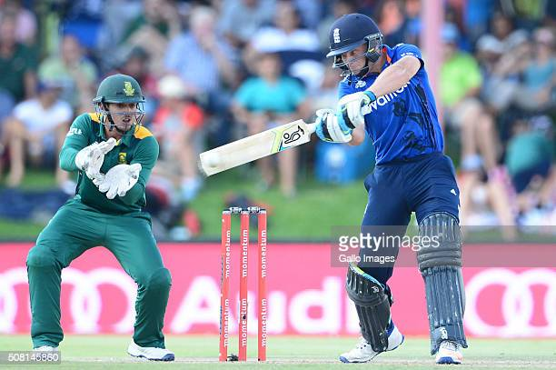 Jos Buttler of England bats during the 1st Momentum ODI Series match between South Africa and England at Mangaung Oval on February 03 2016 in...