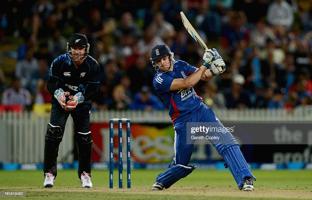 <a gi-track='captionPersonalityLinkClicked' href=/galleries/search?phrase=Jos+Buttler&family=editorial&specificpeople=5788479 ng-click='$event.stopPropagation()'>Jos Buttler</a> of England bats during the international Twenty20 match between New Zealand and England at Seddon Park on February 12, 2013 in Hamilton, New Zealand.