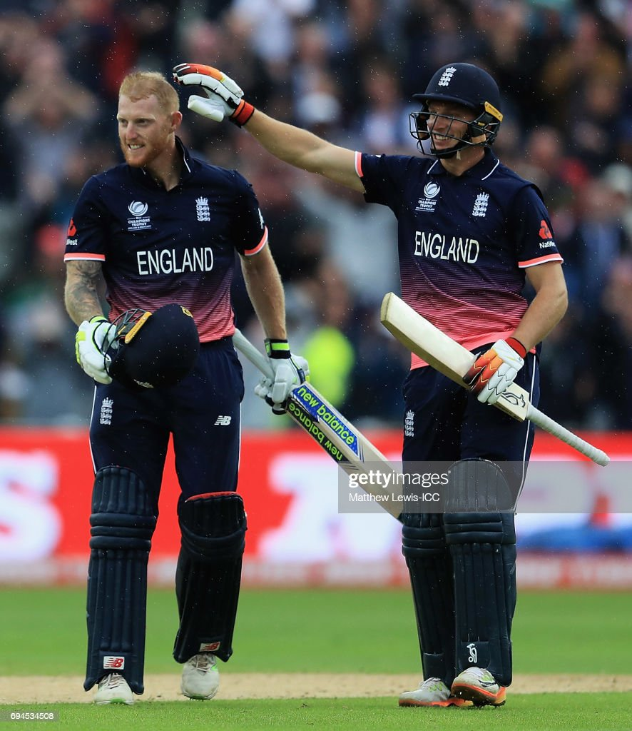 Jos Buttler of England congratulates Ben Stokes on his century during the ICC Champions Trophy match between England and Australia at Edgbaston on June 10, 2017 in Birmingham, England.