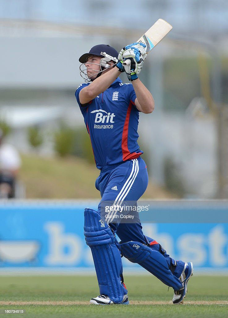 Jos Buttler of England hits out for six runs during a T20 Practice Match between New Zealand XI and England at Cobham Oval on February 5, 2013 in Whangarei, New Zealand.