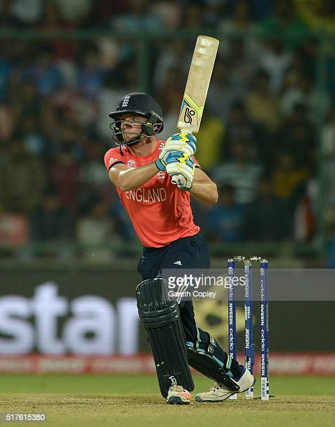 Jos Buttler of England hits out for six runs during the ICC World Twenty20 India 2016 Group 1 match between England and Sri Lanka at Feroz Shah Kotla...