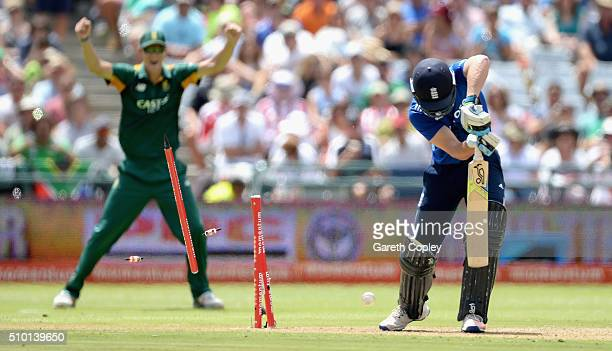 Jos Buttler of England is bowled by Kagiso Rabada of South Africa during the 5th Momentum ODI match between South Africa and England at Newlands...