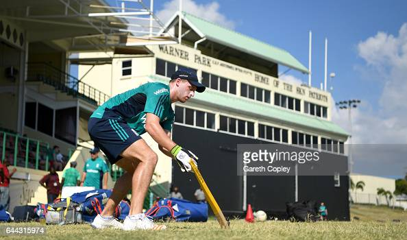 Jos Buttler of England keeps wicket during a nets session at Warner Park on February 23 2017 in Basseterre St Kitts