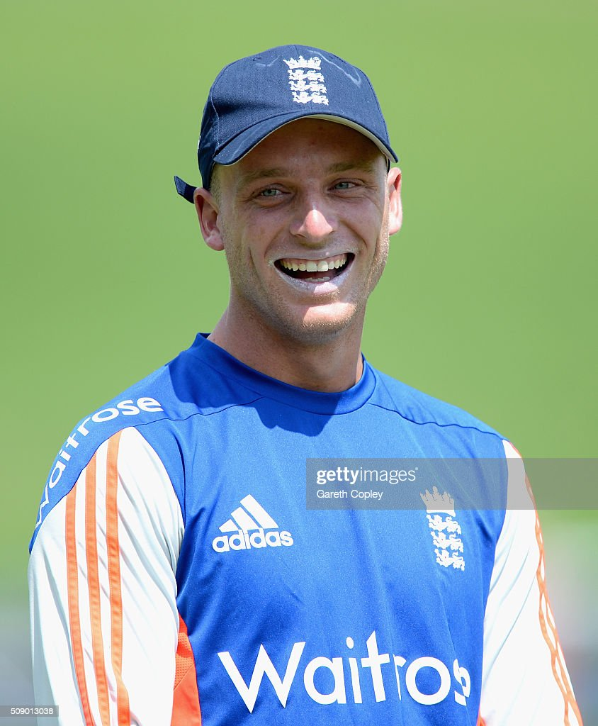 <a gi-track='captionPersonalityLinkClicked' href=/galleries/search?phrase=Jos+Buttler&family=editorial&specificpeople=5788479 ng-click='$event.stopPropagation()'>Jos Buttler</a> of England laughs during a nets session at Supersport Park on February 8, 2016 in Centurion, South Africa.