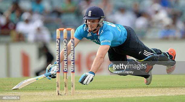 Jos Buttler of England makes his ground during the One Day International match between England and India at WACA on January 30 2015 in Perth Australia