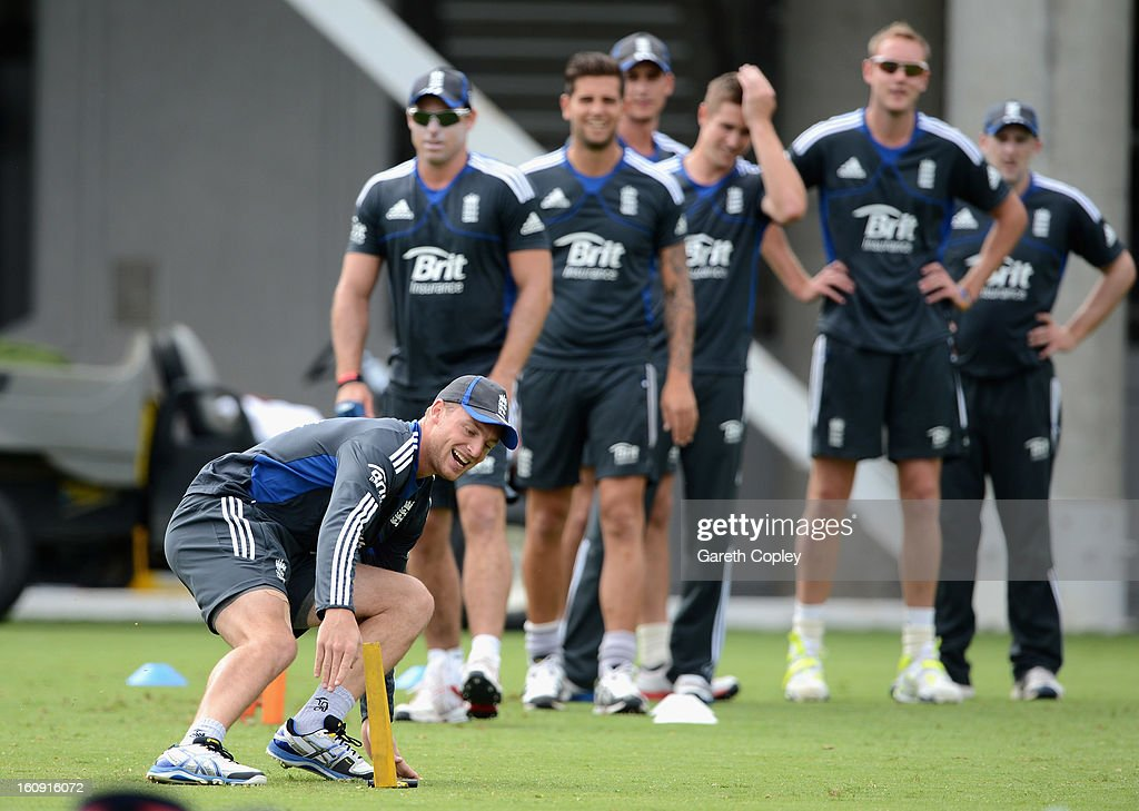 <a gi-track='captionPersonalityLinkClicked' href=/galleries/search?phrase=Jos+Buttler&family=editorial&specificpeople=5788479 ng-click='$event.stopPropagation()'>Jos Buttler</a> of England warms up during an England nets session at Eden Park on February 8, 2013 in Auckland, New Zealand.