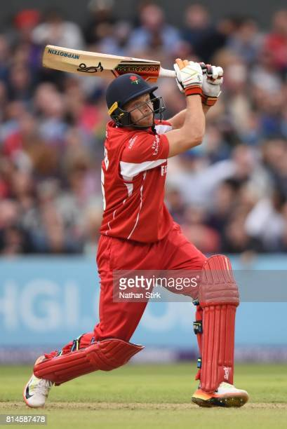 Jos Buttler of Lancashire Lightning batting during the NatWest T20 Blast match against Lancashire Lightning and Yorkshire Vikings at Old Trafford on...