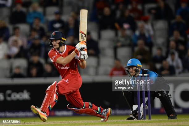 Jos Buttler of Lancashire Lightning in action during the NatWest T20 Blast match between Lancashire Lightning and Worcestershire Rapids at Old...
