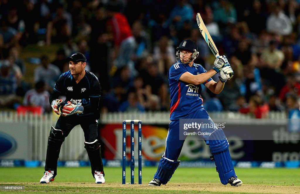 <a gi-track='captionPersonalityLinkClicked' href=/galleries/search?phrase=Jos+Buttler&family=editorial&specificpeople=5788479 ng-click='$event.stopPropagation()'>Jos Buttler</a> of New Zealand bats during the international Twenty20 match between New Zealand and England at Seddon Park on February 12, 2013 in Hamilton, New Zealand.