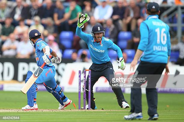 Jos Buttler the wicketkeeper of England stumps Ajinkya Rahane of India off the bowling of James Tredwell during the second Royal London OneDay Series...