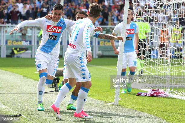 Jos Callejon celebrates after scoring during the Serie A football match between Torino FC and SSC Napoli at Olympic stadium Grande Torino on may 14...