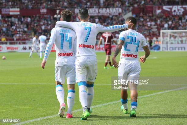 Jos Callejon celebrates after scoring with Lorenzo Insigne and Dries Mertens during the Serie A football match between Torino FC and SSC Napoli at...
