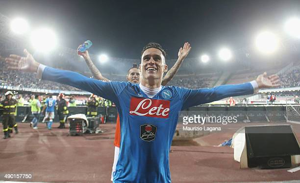 Josè Callejon of Napoli celebrates after the Serie A match between SSC Napoli and Juventus FC at Stadio San Paolo on September 26 2015 in Naples Italy