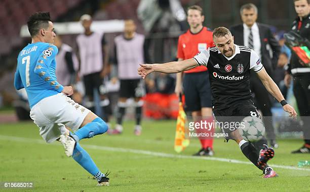 Jos' Callejon of Napoli competes for the ball with Caner Erkin of Besiktas during the UEFA Champions League match between SSC Napoli and Besiktas JK...