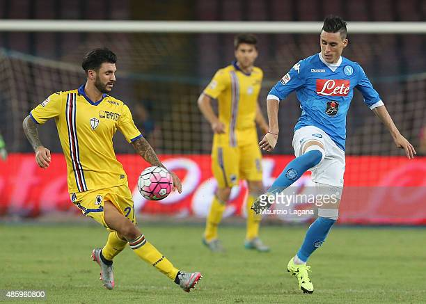Josè Callejon of Napoli competes for the ball with Roberto Soriano of Sampdoria during the Serie A match between SSC Napoli and UC Sampdoria at...