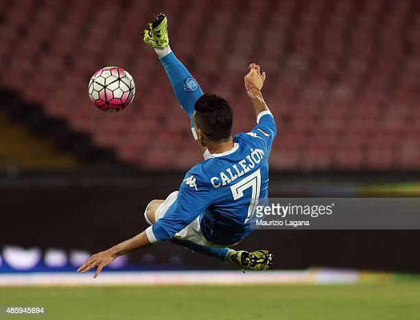 Josè Callejon of Napoli during the Serie A match between SSC Napoli and UC Sampdoria at Stadio San Paolo on August 30 2015 in Naples Italy