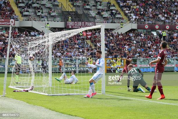 Jos Callejon scores during the Serie A football match between Torino FC and SSC Napoli at Olympic stadium Grande Torino on may 14 2017 in Turin Italy...