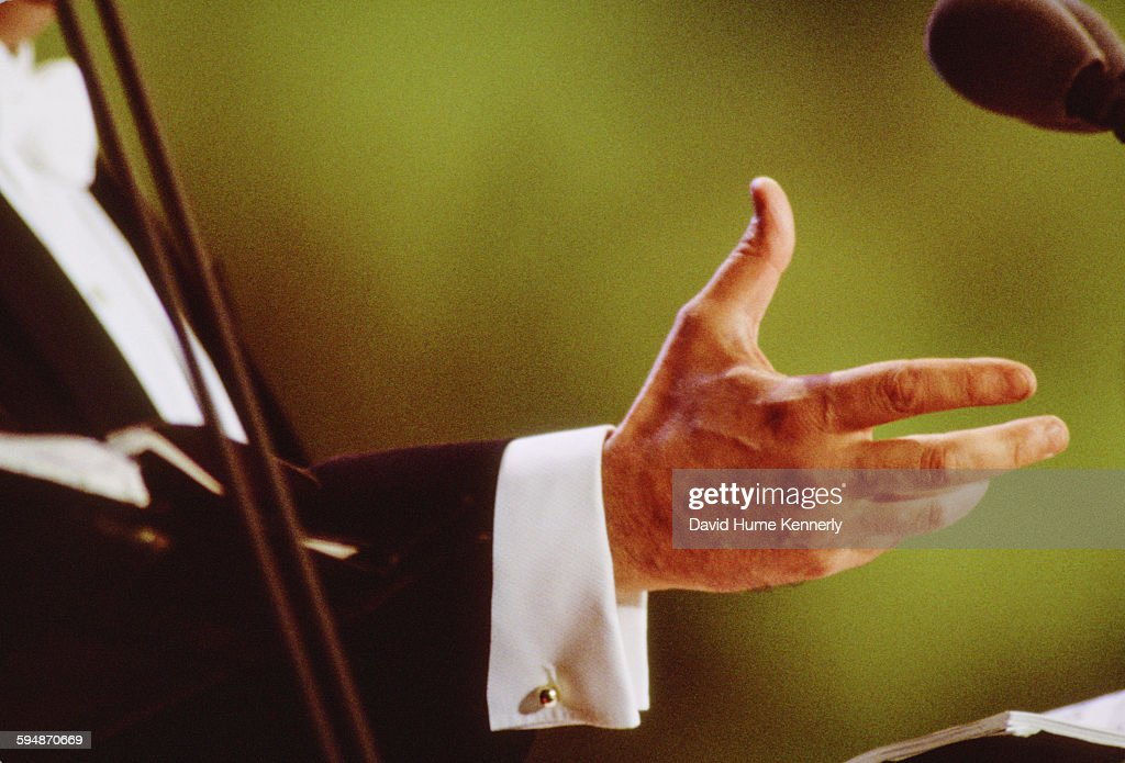 <a gi-track='captionPersonalityLinkClicked' href=/galleries/search?phrase=Jos%C3%A9+Carreras&family=editorial&specificpeople=221646 ng-click='$event.stopPropagation()'>José Carreras</a>'s expressive hand at The Three Tenors concert at Dodger Stadium, July 16, 1994 in Los Angeles. The concert is programmed to coincide with the end of the 1994 World Cup.