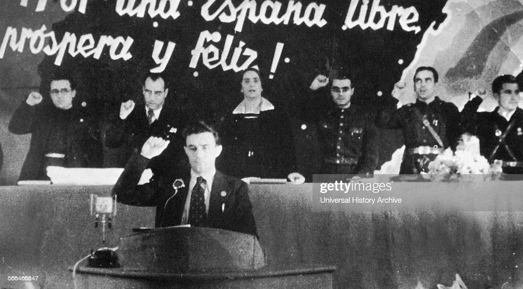 José Díaz Ramos Spanish trade unionist and communist politician addresses the Communist Party congress 1937 Behind him are other leaders including...