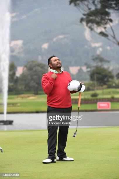 José de Jesús Rodríguez from Mexico celebrates during the final round of the PGA TOUR Latinoamerica 70 Avianca Colombia Open at Club Campestre...