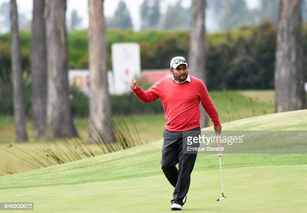 José de Jesús Rodríguez of Mexico celebrates his eagle on the 17th hole during the final round of the PGA TOUR Latinoamerica 70 Avianca Colombia Open...