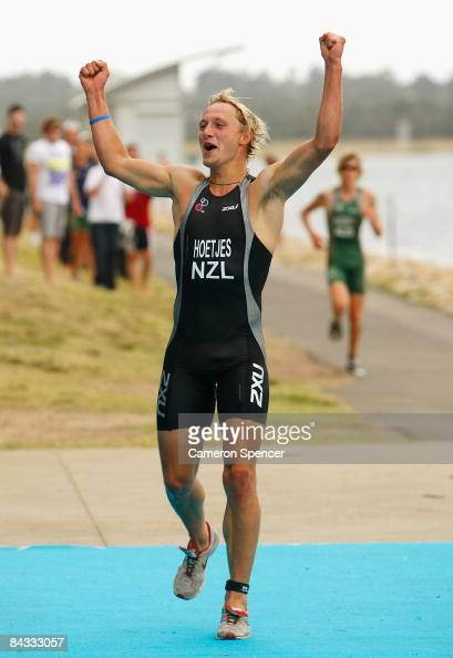 Jos Hoetjes of New Zealand crosses the finish line to win gold in the triathlon teams relay during day four of the Australian Youth Olympic Festival...