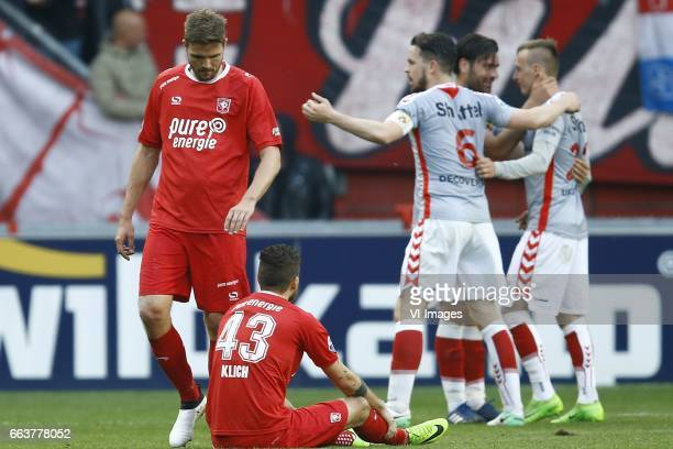 Jos Hooiveld of FC Twente Mateusz Klich of FC Twenteduring the Dutch Eredivisie match between FC Twente and Go Ahead Eagles at the Grolsch Veste on...