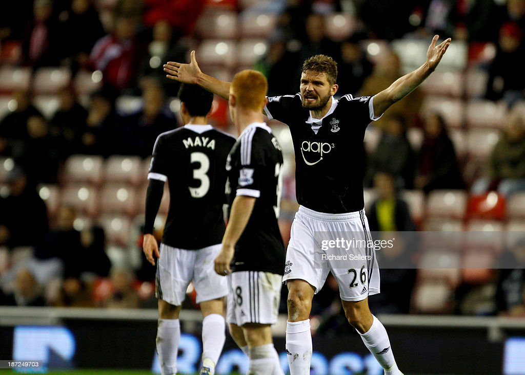 Jos Hooiveld of Southampton gestures during the Capital One Cup fourth Round match between Sunderland and Southampton at Stadium of Light on November 06, 2013 in Sunderland, England.