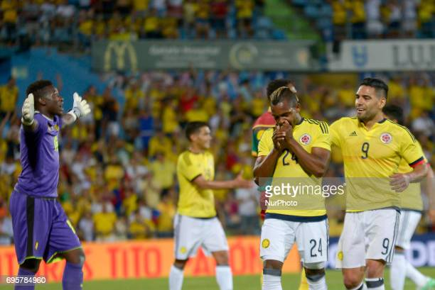José Izquierdo of the Colombia team celebrates the goal with his teammates against Cameroon a friendly match played at the Coliseum Alfonso Pérez...