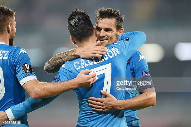 Josè Maria Callejon and Christian Maggio of Napoli celebrate a goal 50 scored by Josè Maria callejon during the UEFA Europa League Group D match...