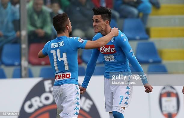 Josè Maria Callejon and Dries Mertens of Napoli celebrate the opening goal during the Serie A match between FC Crotone and SSC Napoli at Stadio...