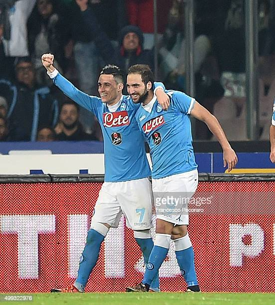 Josè Maria Callejon and Gonzalo Higuain of Napoli celebrate a goal 20 scored by Gonzalo Higuain during the Serie A match between SSC Napoli and FC...