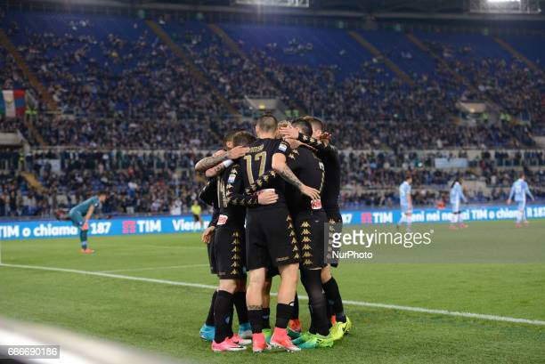 Josè Maria Callejon celebrates after scoring goal 01 during the Italian Serie A football match between SS Lazio and AC Napoli at the Olympic Stadium...