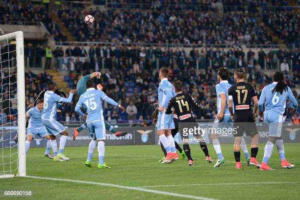 Josè Maria Callejon kicks goal 01 during the Italian Serie A football match between SS Lazio and AC Napoli at the Olympic Stadium in Rome on april 09...