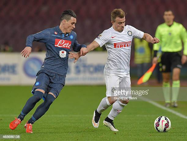 Josè Maria Callejon of Napoli and Xherdan Shaquiri of Internazionale Milano in action during the Serie A match between SSC Napoli and FC...