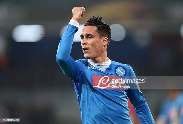 Josè Maria Callejon of Napoli celebrates after scoring goal 50 during the UEFA Europa League Group D match between SSC Napoli and FC Midtjylland at...