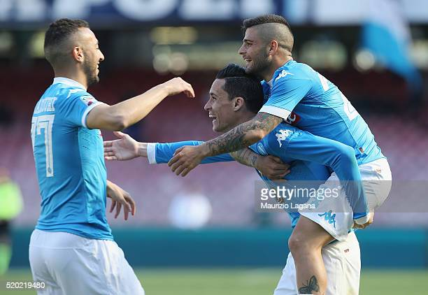 Josè Maria Callejon of Napoli celebrates after scoring his team's third goal during the Serie A match between SSC Napoli and Hellas Verona FC at...