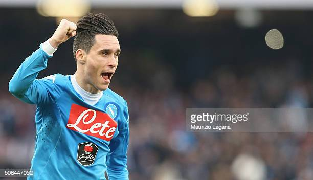 Josè Maria Callejon of Napoli celebrates during the Serie A match between SSC Napoli and Empoli FC at Stadio San Paolo on January 31 2016 in Naples...