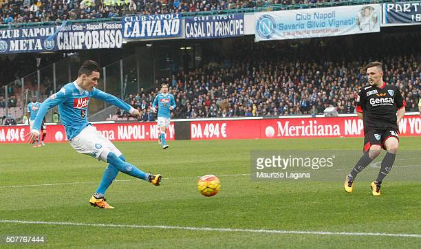 Josè Maria Callejon of Napoli scores his team's third goal during the Serie A match between SSC Napoli and Empoli FC at Stadio San Paolo on January...