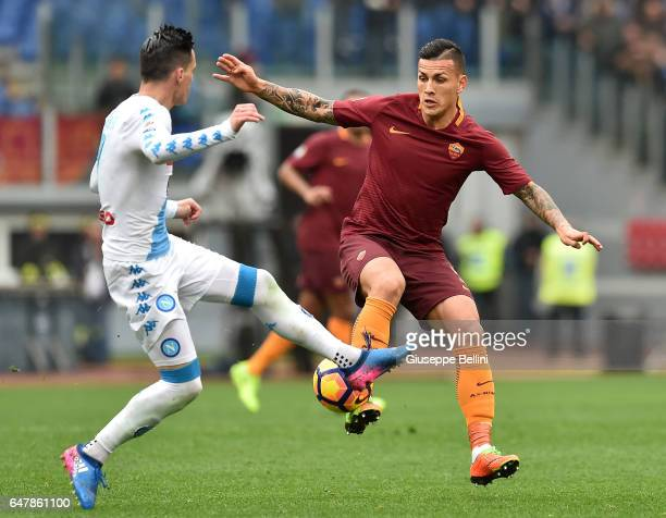 Josè Maria Callejon of SSC Napoli and Leandro Paredes of AS Roma in action during the Serie A match between AS Roma and SSC Napoli at Stadio Olimpico...