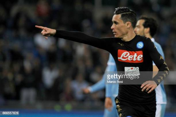 Jos Maria Callejon of SSC Napoli celebrates a opening goal during the Serie A match between SS Lazio and SSC Napoli at Stadio Olimpico on April 9...