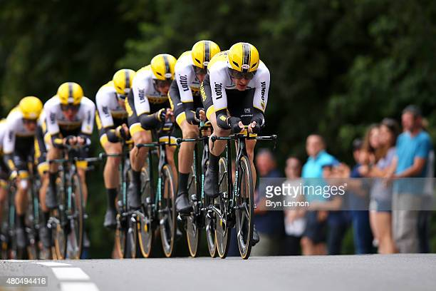 Jos van Emden of the Netherlands and team Lotto NLJumbo leads his team during stage nine of the 2015 Tour de France a 28km team time trial between...