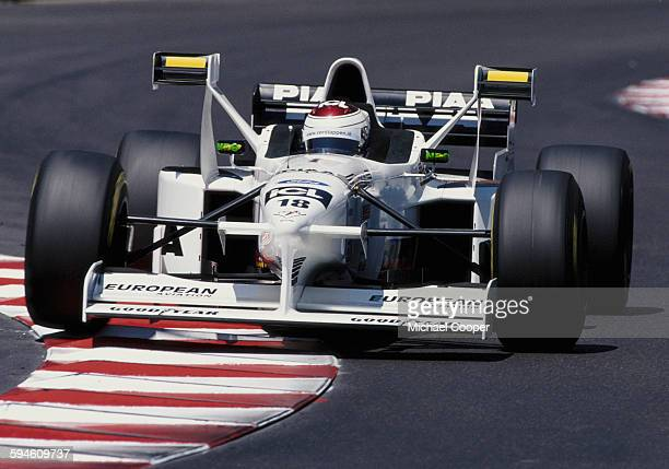 Jos Verstappen of the Netherlands drives the PIAA Tyrrell Tyrrell 025 Ford V8 during the Grand Prix of Monaco on 11 May 1997 on the streets of the...